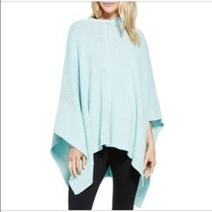 Aqua Patches of Me Hooded Knit Poncho